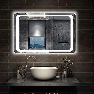 AICA SANITARIOS 70x50cm Espejo de para baño led Anti-Niebla Horizontal Interruptor de Sensor de un Toque