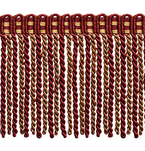 DÉCOPRO 5.4 Yard Value Pack of 6 Inch Long Bullion Fringe Trim, Style# DB6 - Wine (deep red), Gold - Carmine Gold 1253 (16 Ft / 5 Meters)