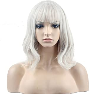 BERON 14'' Short Curly Silver White Wig Women Charming Synthetic Wig with Bangs Wig Cap Included (Silvery White)