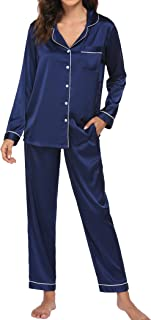Ekouaer Satin Pajamas Women's Long Sleeve Sleepwear Silk Soft Button Down Loungewear Pjs Set S-XXL