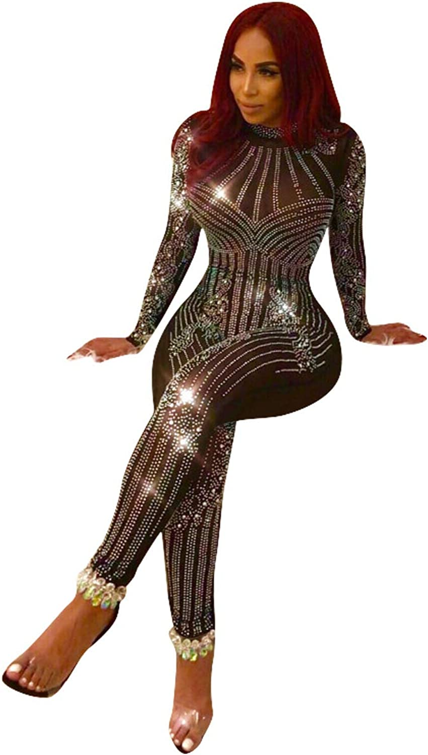 Womens Sexy Long Sleeve See Through Rhinestone Bodycon Jumpsuit