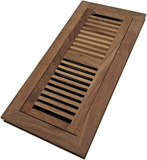 Homewell Walnut Wood Floor Register, Flush Mount Floor Vent Cover, 4X12 Inch, with Damper, Unfinished