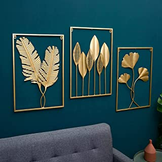 GULLI BULLI METAL LEAVES FRAME WALL DECOR ART FOR LIVING ROOM - GOLDEN COLOR - SIZE 24x16 IN APPROX. (PACK OF ALL 3)