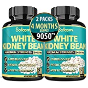 Pure White Kidney Bean Extract Capsules 9050mg* (60 Capsules)*2 Packs - 4 Months Supply - Vegan Carb Blocker, Fat Absorber - Suppress Appetite