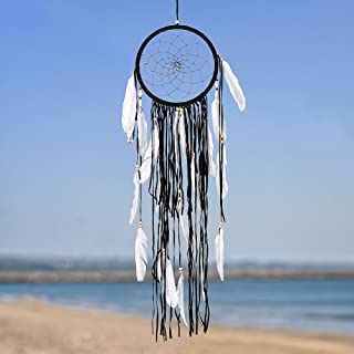 """Caught Dreams   Boho Style Dream Catcher   Handmade Bedroom Wall Decoration   Craft Ornament Gift   Bohemian Influenced Suedette with Silver & Wooden Beads   8.5"""" Diameter & 31"""" Long   Black"""