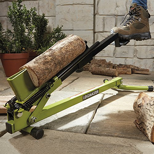 Logmaster Foot Operated Heavy Duty Log Splitter, Manual Wood Cutter for Splitting & Cutting Timber (Green)