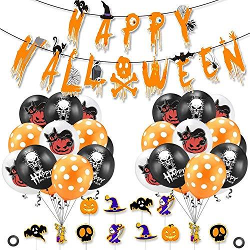 DERU® Palloncini di Halloween, Fantasmi Palloncini Lattice per Decorazioni, Happy Halloween Banner, Palloncino Decorativo per Festival Fantasma, per Halloween, Casa, Forniture Decorative (M1)