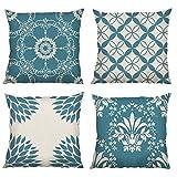 Bonhause Juego de 4 Funda de Cojín 45x45cm Geométrico Moderno Azul Algodón Lino Fundas de Almohada para Cojines Decorativos para Sofá Cama Coche Hogar