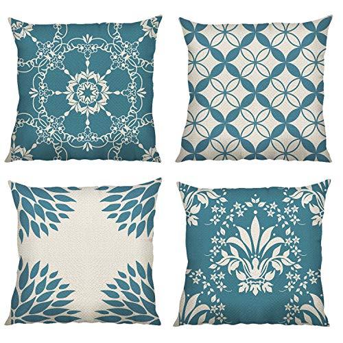 Bonhause 4 Pack Federa per Cuscini 45 x 45 cm Moderno Geometrico Blu Cotone Biancheria Copricuscini Decorativi per Divano Letto Auto