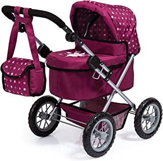 Bayer Design 13067AA Dolls Pram Trendy with Shoulder Bag and Underneath Shopping Basket, Bordeaux, red with Pattern