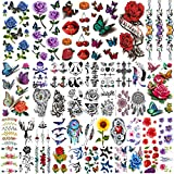 Rejaski 44 Sheets Various 3D Rose Flowers Butterfly Temporary Tattoos For Women, Watercolor Tatoos Kids Tattoos Temporary Feather Dreamcatcher, Realistic Cross Anchor Fake Arm Neck Tattoo Sticker Kit