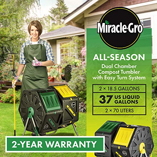 Miracle-Gro Large Dual Chamber Compost Tumbler – Easy-Turn, Fast-Working System – All-Season, Heavy-Duty, High Volume Composter with 2 Sliding Doors - (2 – 27.7gallon /105 Liter)