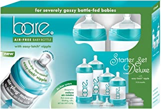 Healthier Than Baby Bottles - Starter Set - Bare Air-Free Feeding System w/Easy-Latch Nipples - Reduces Reflux, GERD, Gas & Colic - For bottle-fed babies only