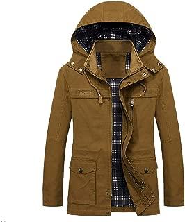 iLXHD Jacket Men's Trench Coat Warm Windbreaker Winter Zip Up Overcoat Hood
