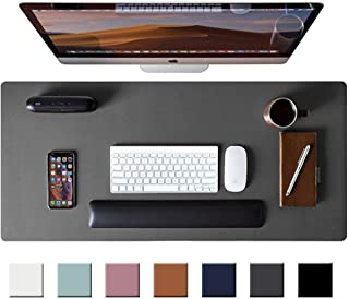 "Leather Desk Pad Protector,Mouse Pad,Office Desk Mat, Non-Slip PU Leather Desk Blotter,Laptop Desk Pad,Waterproof Desk Writing Pad for Office and Home (Gray,31.5"" x 15.7"")"