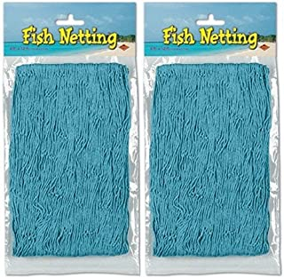 Nautical Decorative Fish Netting - 4' x 12' (2-Pack) (Turquoise)