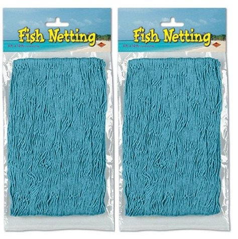 Nautical Decorative Fish Netting - 4' x 12' (2-Pack) (Turquoise)
