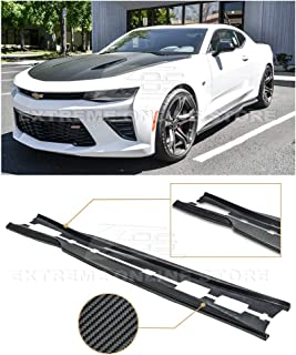 Replacement for 2016-2018 Chevrolet Camaro   EOS T6 Style Add-On Bottom Line Side Skirts Rocker Panel Extension Pair (Carbon Fiber)