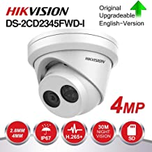 Hikvision 4MP IP Camera DS-2CD2345FWD-I 2.8mm Fixed Lens, 2688x1520 @30fps, Outdoor PoE Network Camera, EXIR 98ft Night Vision, Smart H.265+ WDR, SD Card Slot, VCA, ONVIF, IP67