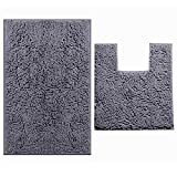 New New LuxUrux Bathroom Rugs Chenille 2-Piece Bath Mat Set, Soft Plush Bath Rug +Toilet Mat.1'' Microfiber Shaggy Carpet, Super Absorbent Machine Washable (Curved Set Square, Dark Gray)