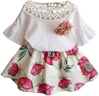 FEITONG Kids Girls Letter Butterfly Shirt Top Flowers Skirt Set Clothing