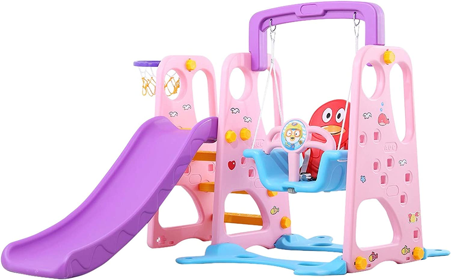 Toddler Slide and Swing Set, Climbing Stairs with Basketball Fra