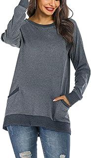MAXIMGR 女式休闲拼色口袋 T 恤运动衫长袖圆领套头上衣