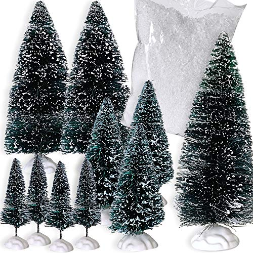 BANBERRY DESIGNS Holiday Village Tree Set - Pack of 10 Mini Christmas Trees with 1 Small Bag of White Snow - Frosted Covered Branches