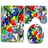 MEWSGK Toilet seat Cover, Personalized 3PCS Non Slip Toilet Seat Cover Rug Bathroom Tropical Birds in Forest Parrot