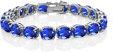 Sterling Silver Simulated Blue Sapphire 9x7mm Oval-cut Classic Tennis Bracelet