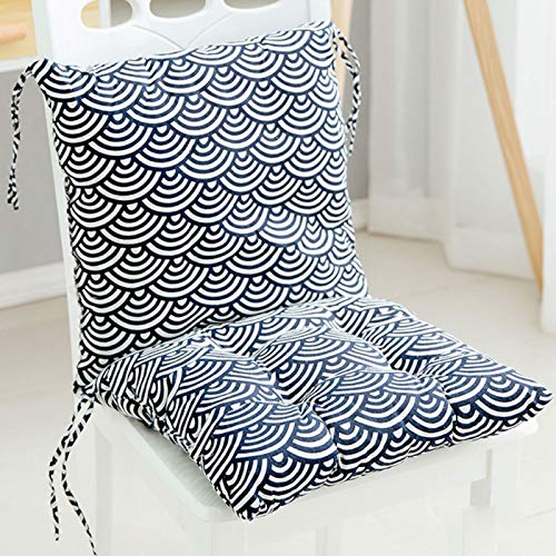ZAJE Seat Cushions With Ties Luxurious Padded Siamese Cushion Seat Cushions For Indoor Outdoor Garden Patio Kitchen & Office Chairs,back Relax,variety Of Styles