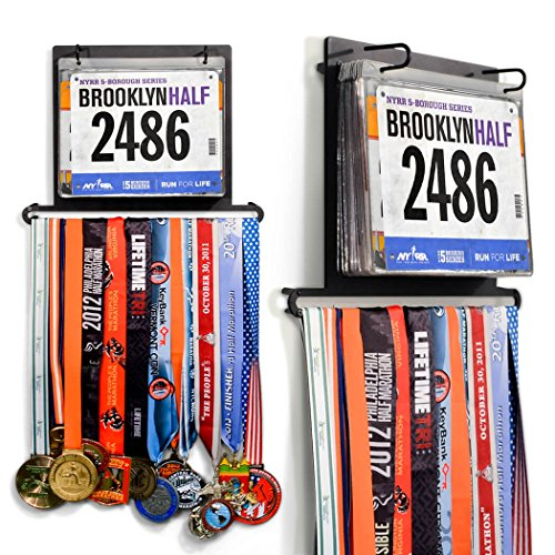Gone For a Run BibFOLIO Plus Race Bib and Medal Display | Wall Mounted Medal Hanger � Displays up to 24 Medals and 100 Race Bibs