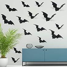 30Pcs Black Glittery Halloween 3D Bats Stickers Black Plastic Wall Bat Decals- Halloween Door Decorations,Black Bat Decor,...