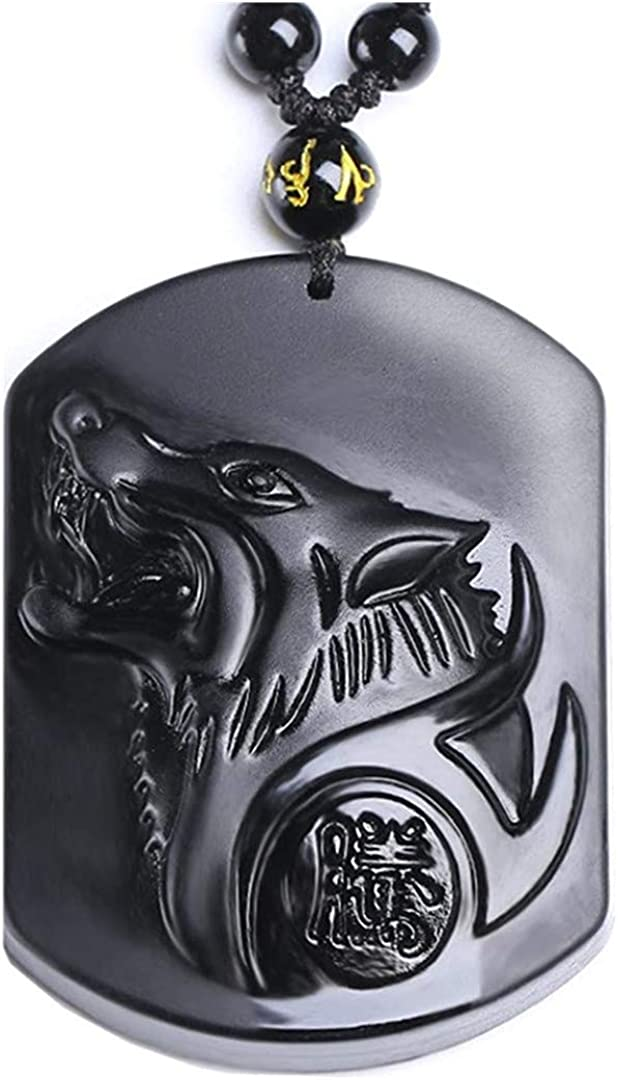 Obsidian Pendant Necklace for Women Man, Wolf Head Carved Obsidian Crystal Pattern with Extend Beads Chains,Protection Amulet Charm