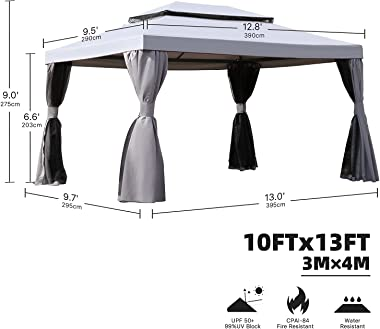 Grand patio 10x13 Feet Patio Gazebo, Outdoor Canopy with Mosquito Netting and Shade Curtains,Sturdy Straight Leg Tent for Bac