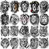 10 Sheets FANRUI Cool Tiger Face Temporary Tattoos For Women Men Adult Kids Hand Arm Waterproof Realistic Lion King Fake Tattoo Temporary Halloween Party Tatto Sticker Temp Tatoos Black Animal Cross