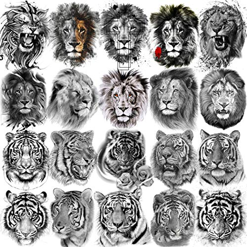 NAPPO 10 Feuilles TêTe De Tigre Lion Cool Noir Tatouage Ephemere Homme Enfants Animal Tribal Réaliste Autocollant Tatouage Femme Halloween Tattoo Bras Jambe Imperméable Faux Tatouage Temporaire Adulte