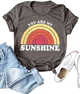 Women You are My Sunshine Letter Print Tops Casual Short Sleeve Tee Rainbow T-Shirt