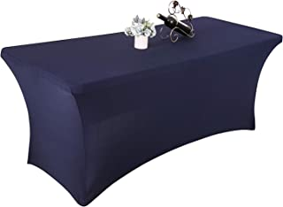 Yetomey Spandex Table Cover Rectangular Stretch Tablecloth,for DJ,Tradeshows,Vendors,Weddings (Navy, 8FT)