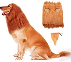 Refial Dog Lion Mane,Lion Mane Wig Costumes for Dogs with Ears & Tail,Complementary Lion Mane Wig Hair for Medium to Large Sized Dogs for Holiday Photo Shoots Party