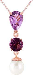 Galaxy Gold GG 14k Yellow, White, Rose Gold Necklace with Amethysts and Freshwater-cultured Pearl
