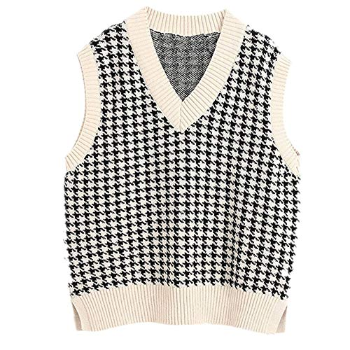 Women Oversized Houndstooth Knitted Vest Sweater Beige