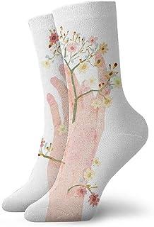 tyui7, Calcetines de compresión de flores pintadas a mano de acuarela Calcetines de compresión antideslizantes Calcetines deportivos de 30 cm acogedores para hombres, mujeres, niños