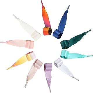 Syhood 10 pares de cordones de satén de cinta de seda para zapatos, cordones de zapatos suaves, casuales, planos, de satén, para mujeres y niñas, zapatillas, 47.2 x 0.78 pulgadas