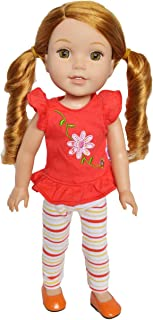 Brittany's Flower Top with Striped Leggings Set for 14 and 14.5 Inch Dolls Compatible with Wellie Wisher Dolls, Glitter Girl Dolls, Hearts for Hearts Dolls- 14 Inch Doll Clothes