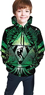 OSCAR CURTIS Geeka Unisex Kids Hoodies Sweaters The Legend of Zel-da 3D Printed Pullover Clothes with Pocket for Teens