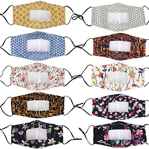 10 PCS Reusable and Washable Anti Dust Unisex Mouth Face Bandanas Covering, with Clear Window Visible Expression for The Deaf and Hard of Hearing