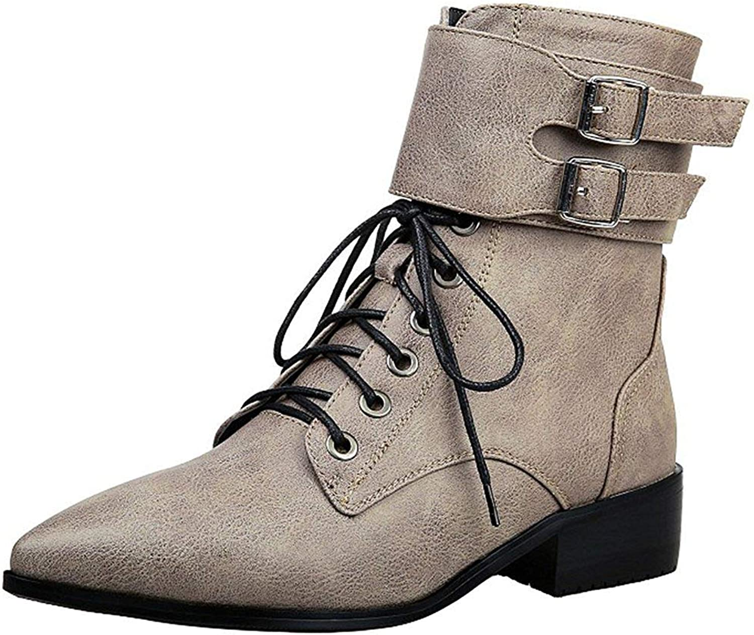 Ghssheh Women's Stylish Buckle Belt Block Low Heel Lace Up Ankle Booties Pointed Toe Side Zipper Short Boots Coffee 5 M US
