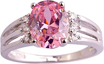 Psiroy 925 Sterling Silver Oval Shaped Created Pink Topaz Filled Anniversary Ring