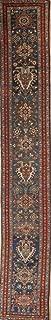 Pre-1900 Antique Vegetable Dye Tribal 19' Runner Heriz Serapi Persian Rug 3'X19'